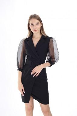 Black Sleeve Tulle Dress