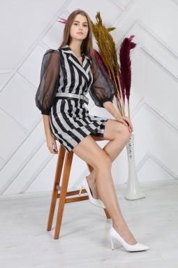 Leather Polka Dot Sleeve Tulle Dress