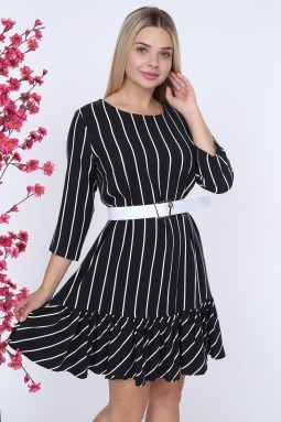 Black Striped White Belted Dress