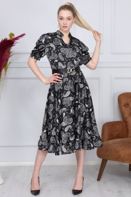 Black Shawl Pattern Dress