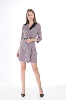 Black Collar Striped Pink Dress