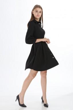 Black Collar Buttoned Short Dress