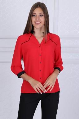 Black Collar Red Blouse