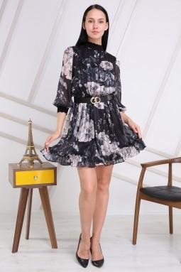 Black Color Half Turtleneck Dress