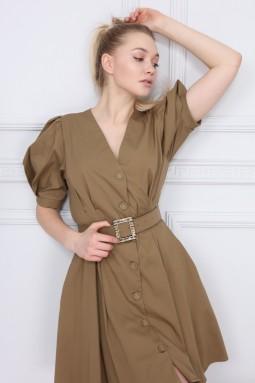 Khaki V-Neck Dress