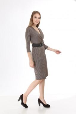 Mink Silvery Striped Knitwear Dress