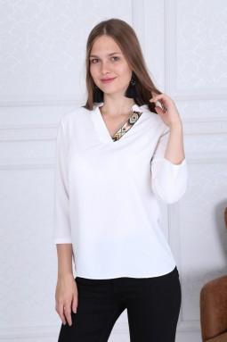 Collar Detail Basic White Blouse