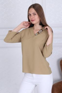 Collar Detail Basic Beige Blouse