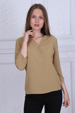 Collar Detailed Beige Color Blouse
