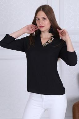 Collar Detail Basic Black Blouse