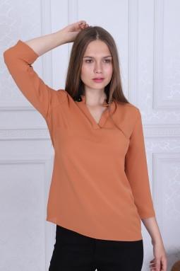 Collar Detailed Orange Color Blouse