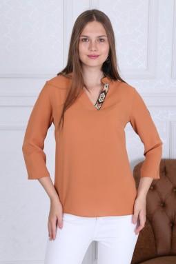 Collar Detail Basic Orange Blouse