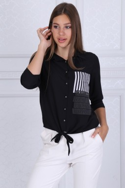 Collar Buttoned Black Blouse
