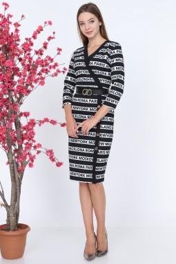 Line Pattern Black Color Dress