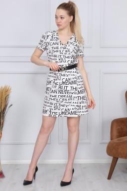 White Letter Pattern Dress