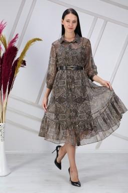 Shawl Pattern Green Dress