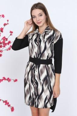 Zebra Pattern Beige Dress