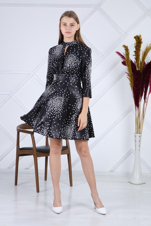 Black Leather Polka Dot Dress
