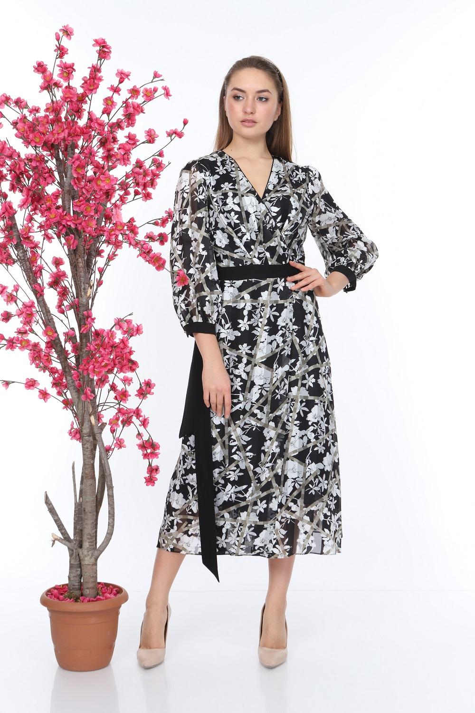 Grey Patterned Belted Dress