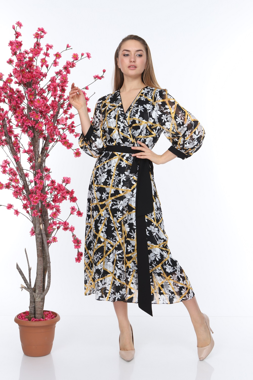 Yellow Patterned Belted Dress