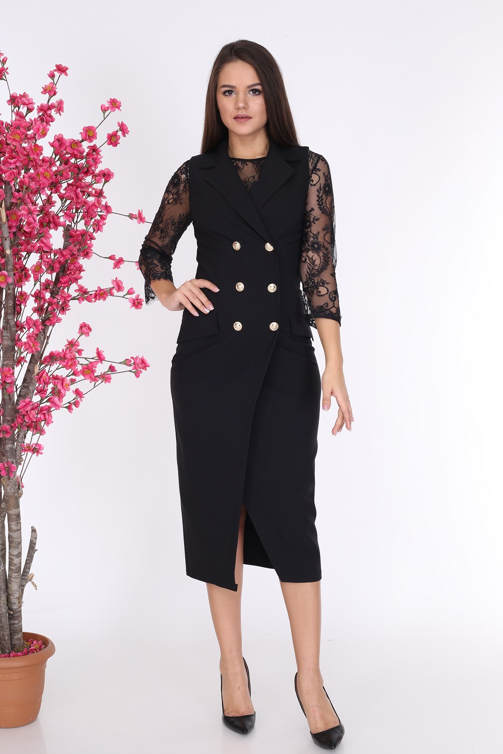 Collared Buttoned Black Dress