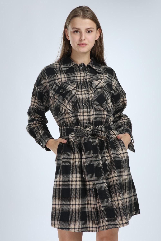 Plaid Buttoned Beige Dress