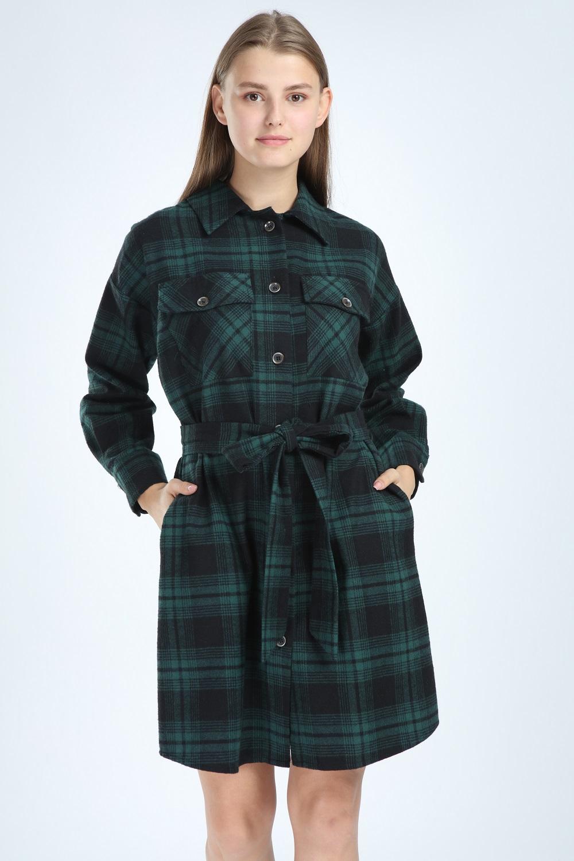 Plaid Buttoned Green Dress