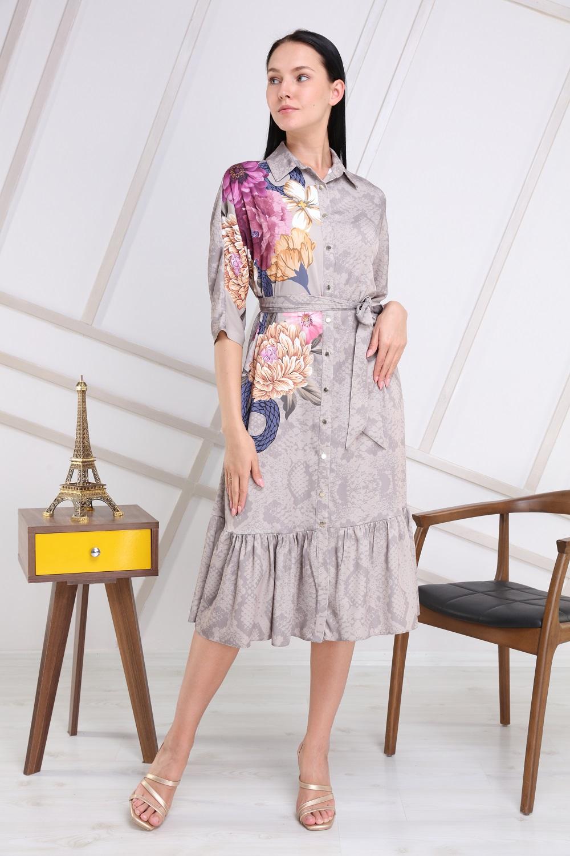 Gray Floral Pattern Dress