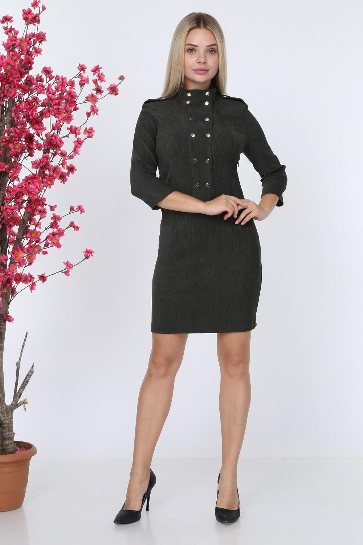 Khaki Button Velvet Dress