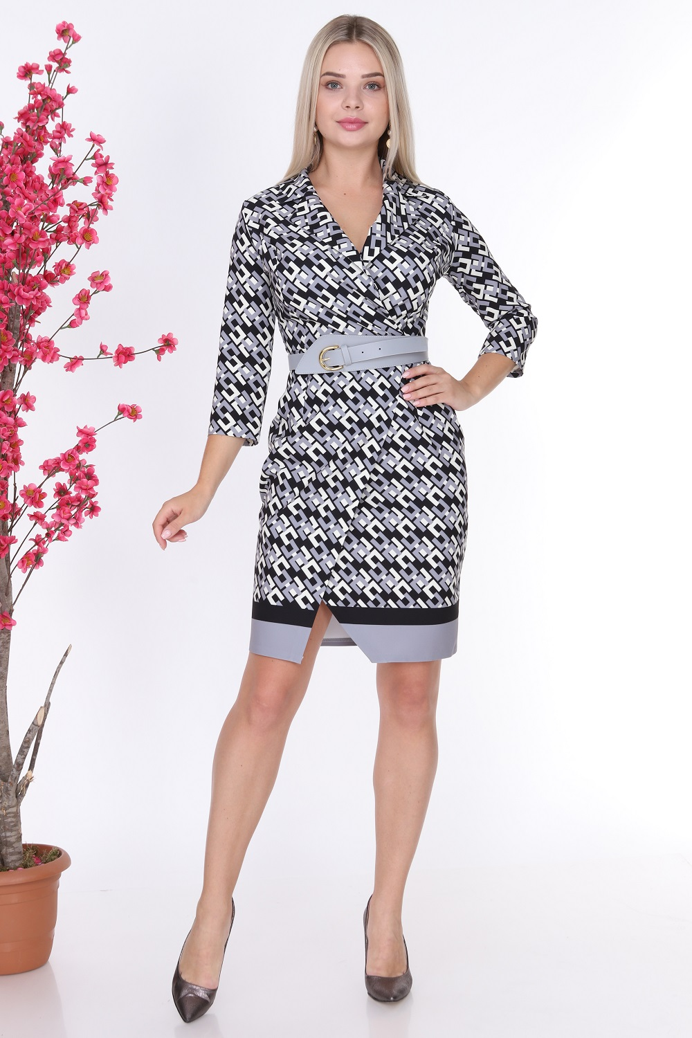 Patterned Collar Gray Color Dress