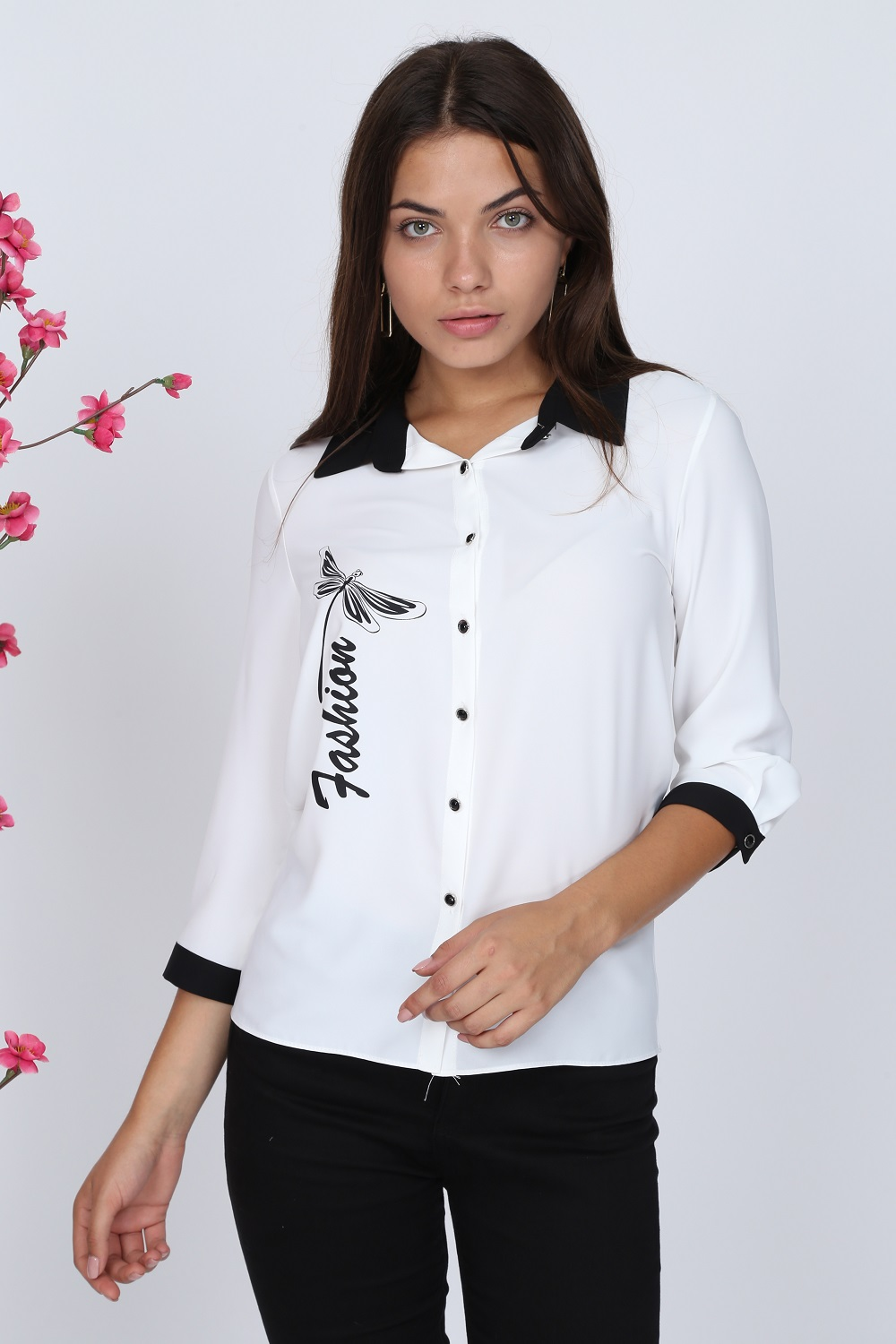 Butterfly Patterned White Blouse