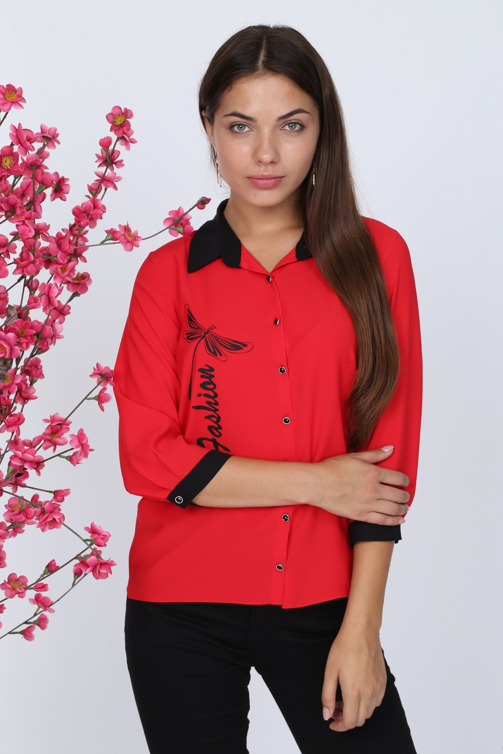 Butterfly Patterned Red Blouse