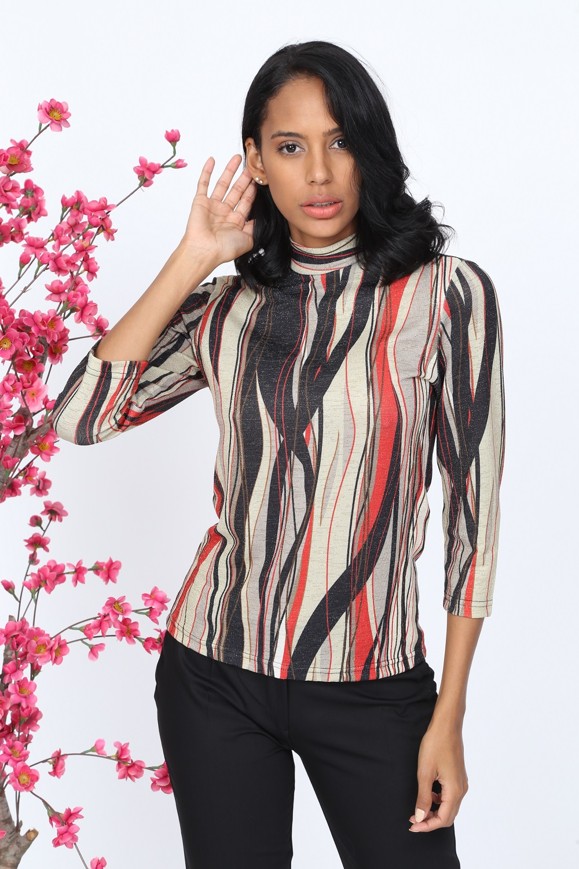Red Striped Glitter Knitwear Blouse