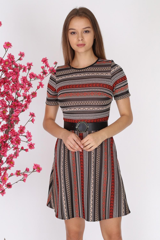 Red Patterned Short Sleeve Knitwear Dress
