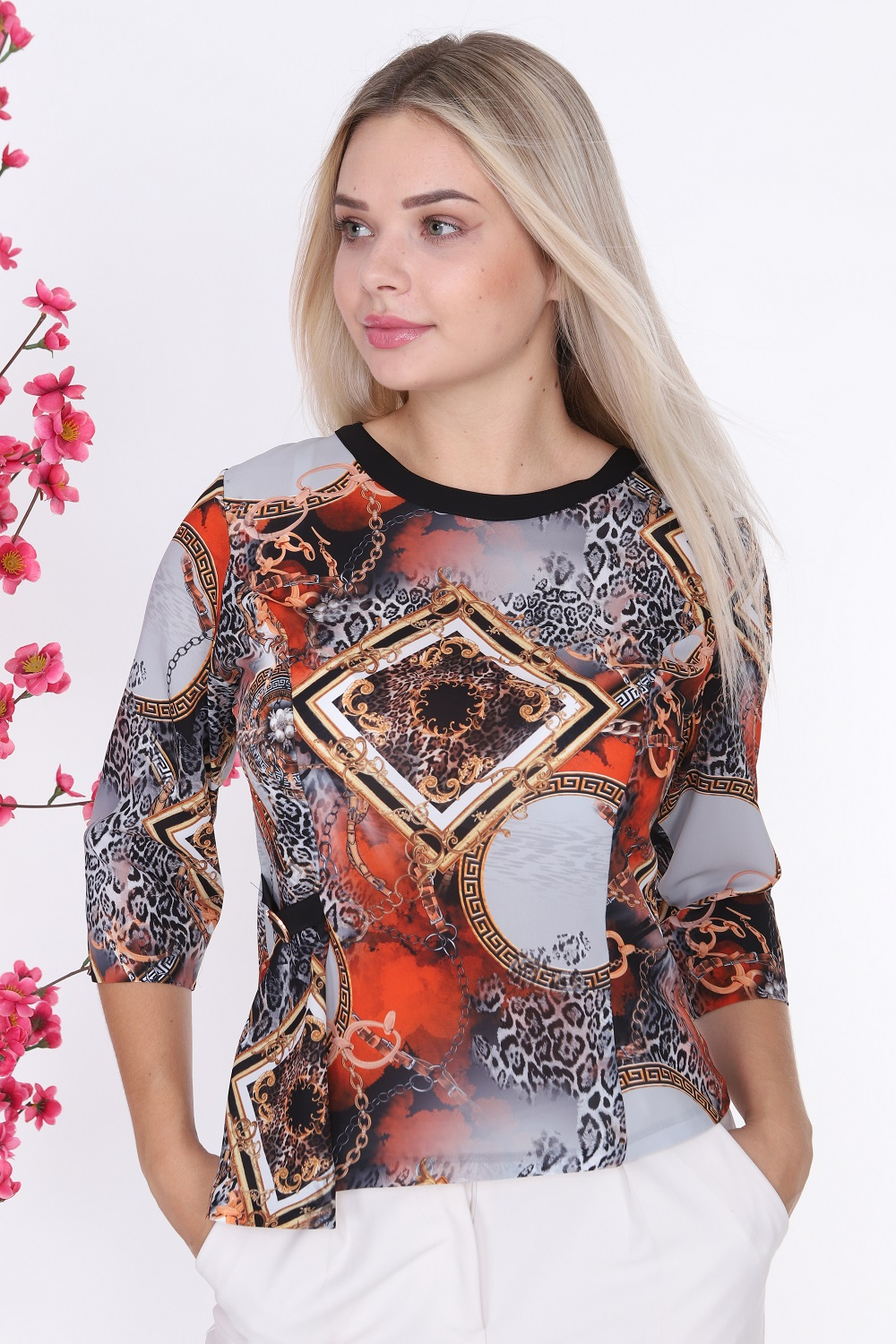 Chain Pattern Red Color Blouse
