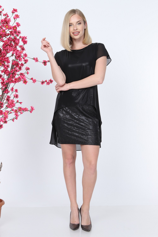 Short Sleeve Black Color Dress