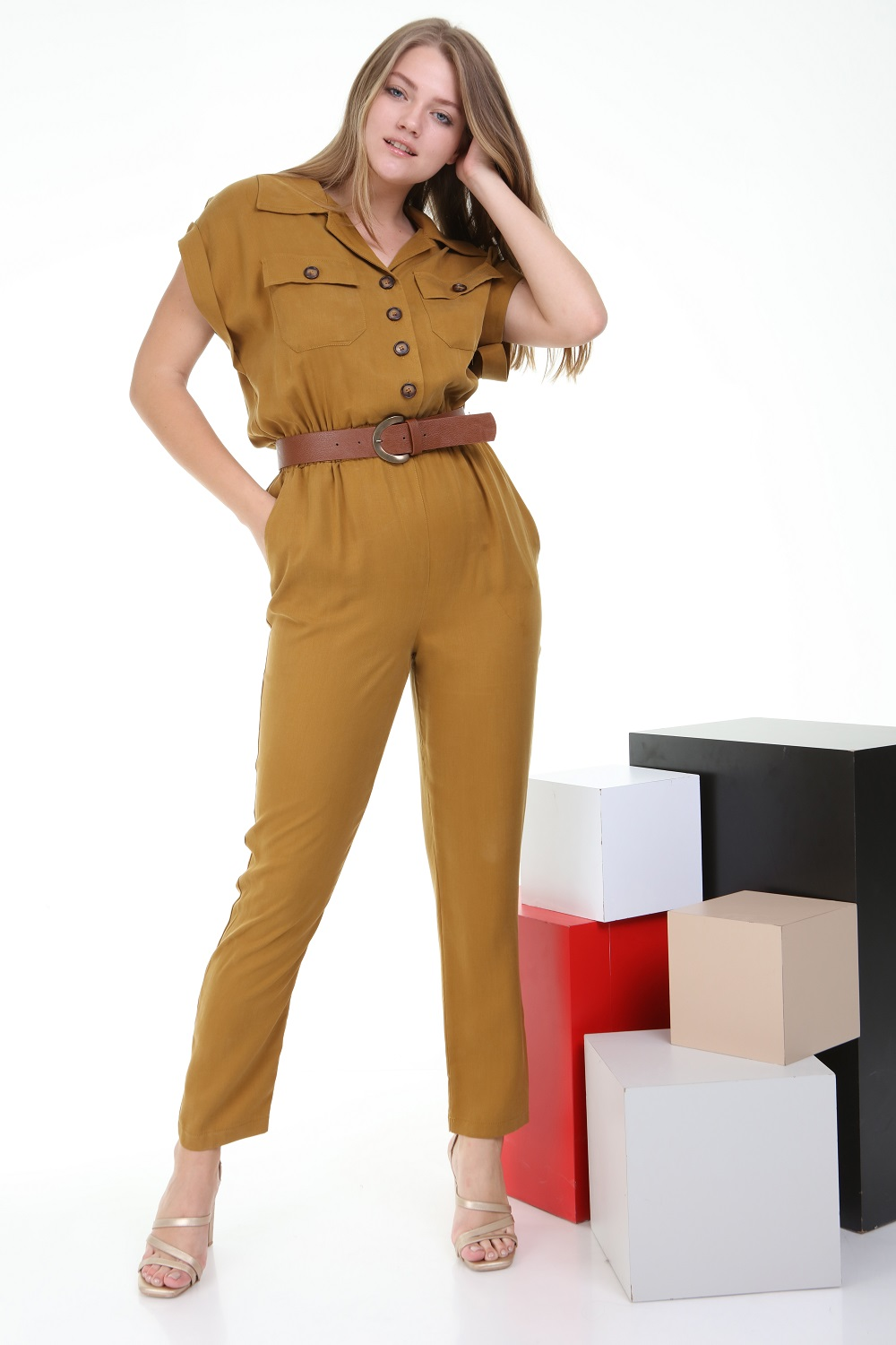 Mustard Color Jumpsuit with Short Sleeve Buttons