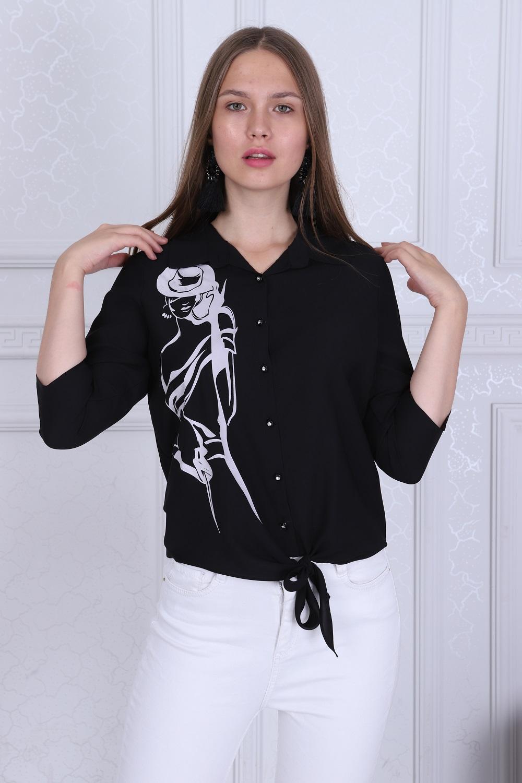 Girl Patterned Black Color Blouse
