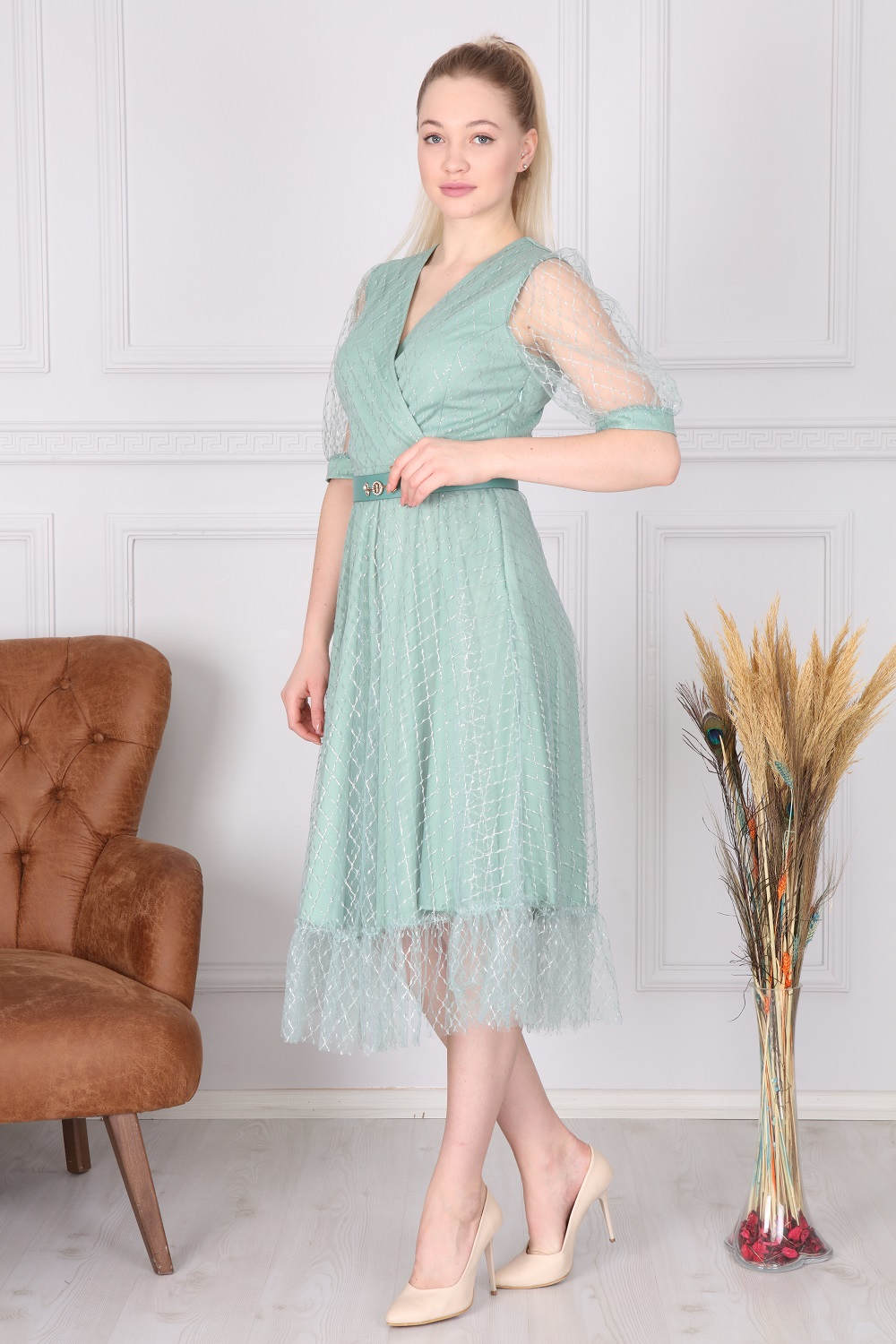 Mint Double Breasted French Dress