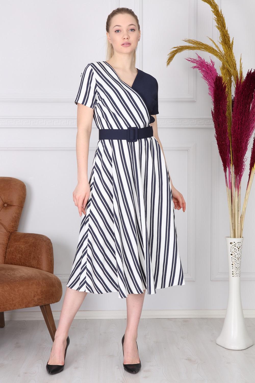 Navy Striped Long Dress