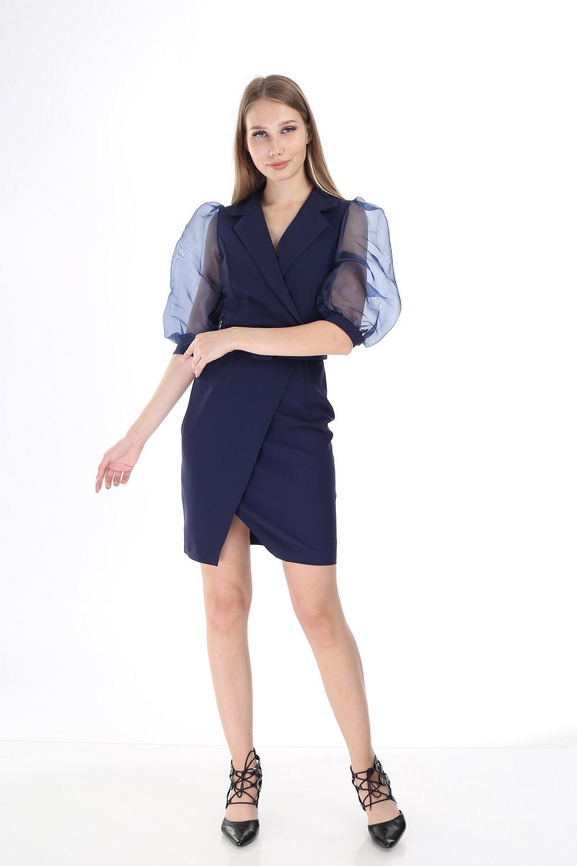 Navy Blue Sleeve Tulle Dress