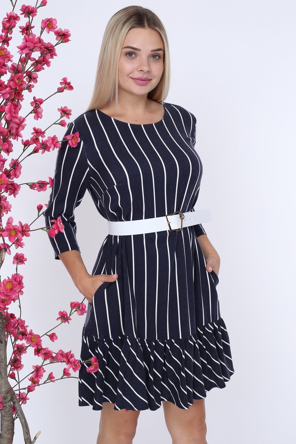 Navy Blue Striped White Belted Dress