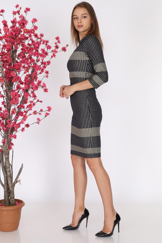 Dark Blue Striped Knitwear Dress