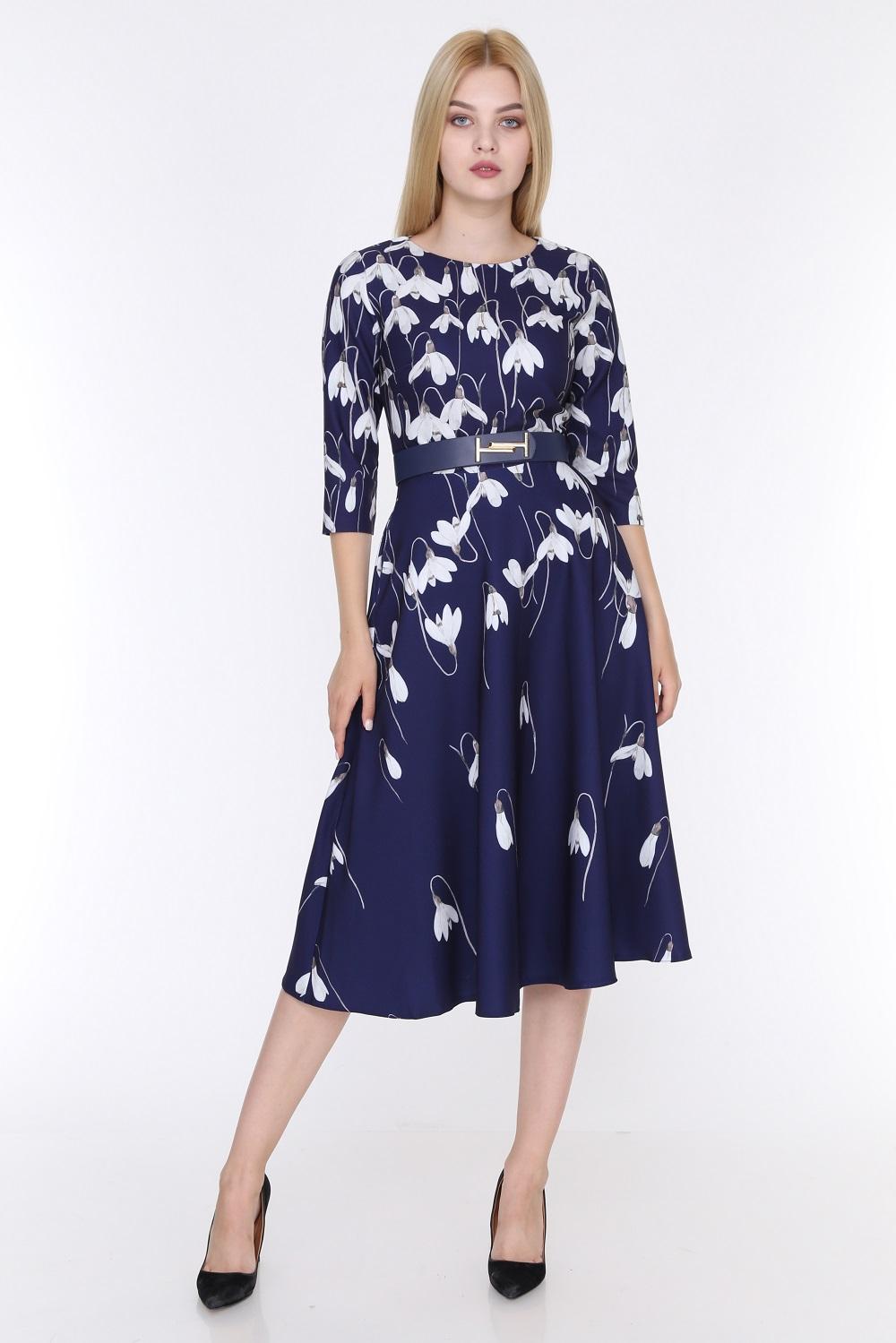 Tulip Patterned Navy Blue Color Dress