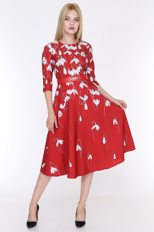 Lale Desenli Kırmızı Renk Elbise