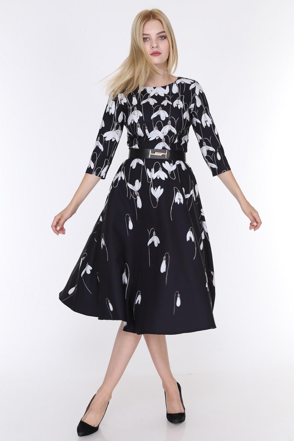 Tulip Patterned Black Color Dress