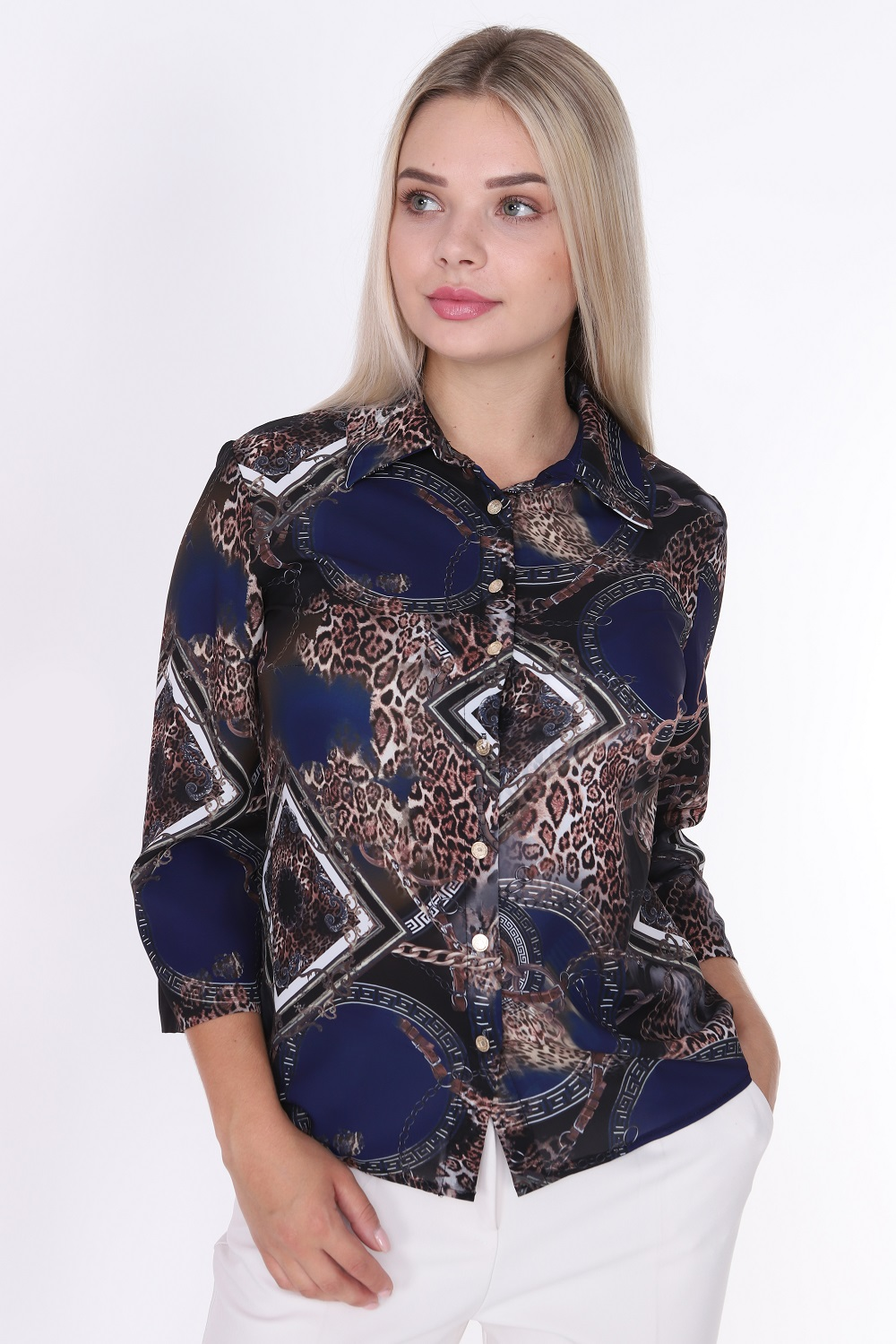 Leopard Patterned Buttoned Navy Blue Blouse