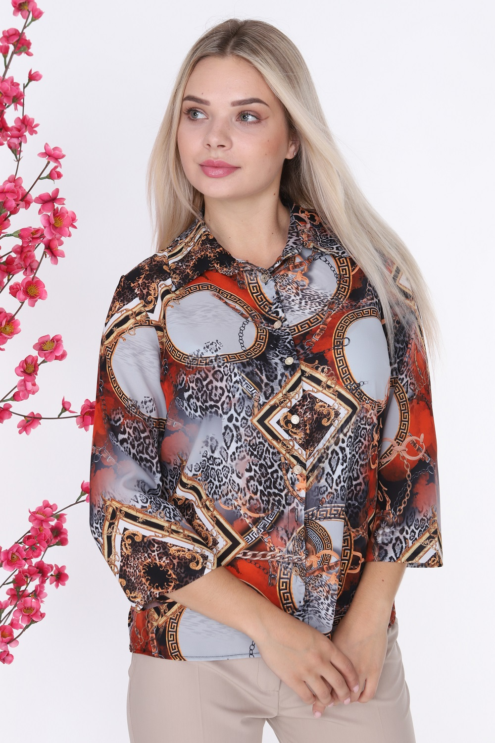 Leopard Patterned Buttoned Red Blouse