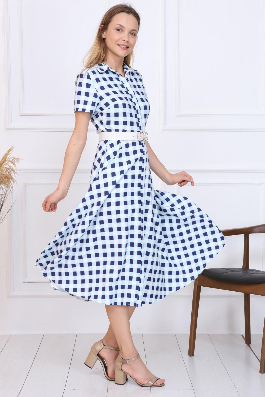 Blue Plaid Button Dress