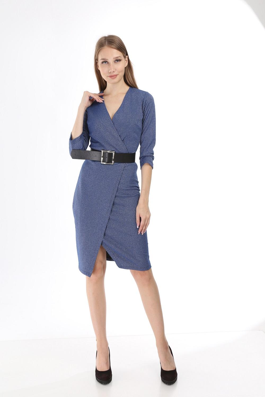 Blue Silvery Striped Knitwear Dress